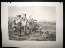 Children 1866 Steel Engraving. The Bird Catchers